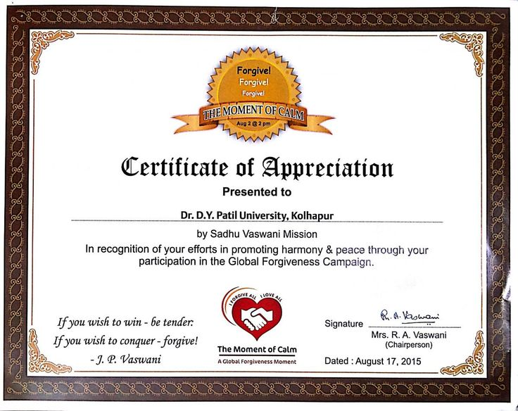 Certificate of Appreciation (the Moment of Calm) D Y PATIL - medical assistant certificate