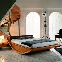 The Most Unique Bed Frames For Bedroom Furniture Design. curved varnished  wooden bed