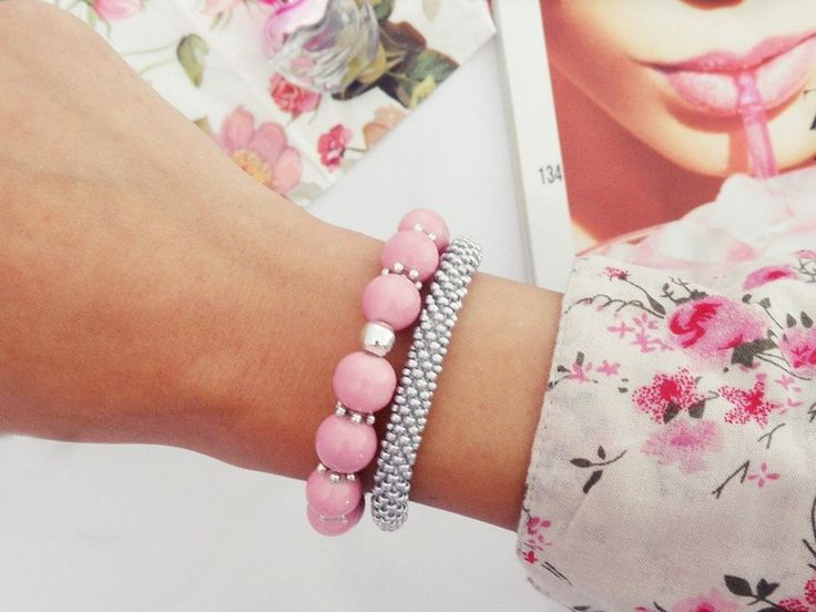 Copenhagen - ilovehandmade - Bransoletki #bransoletka #biżuteria #bracelet #jewellery #jewelry #beadcrochet #beading #beadwork #pink #silver
