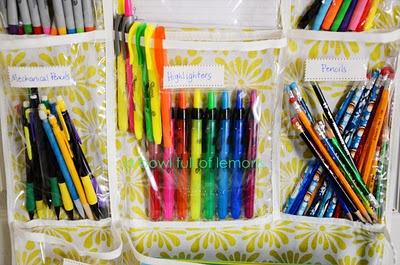 School supplies organization.  abowlfulloflemons.blogspot.com