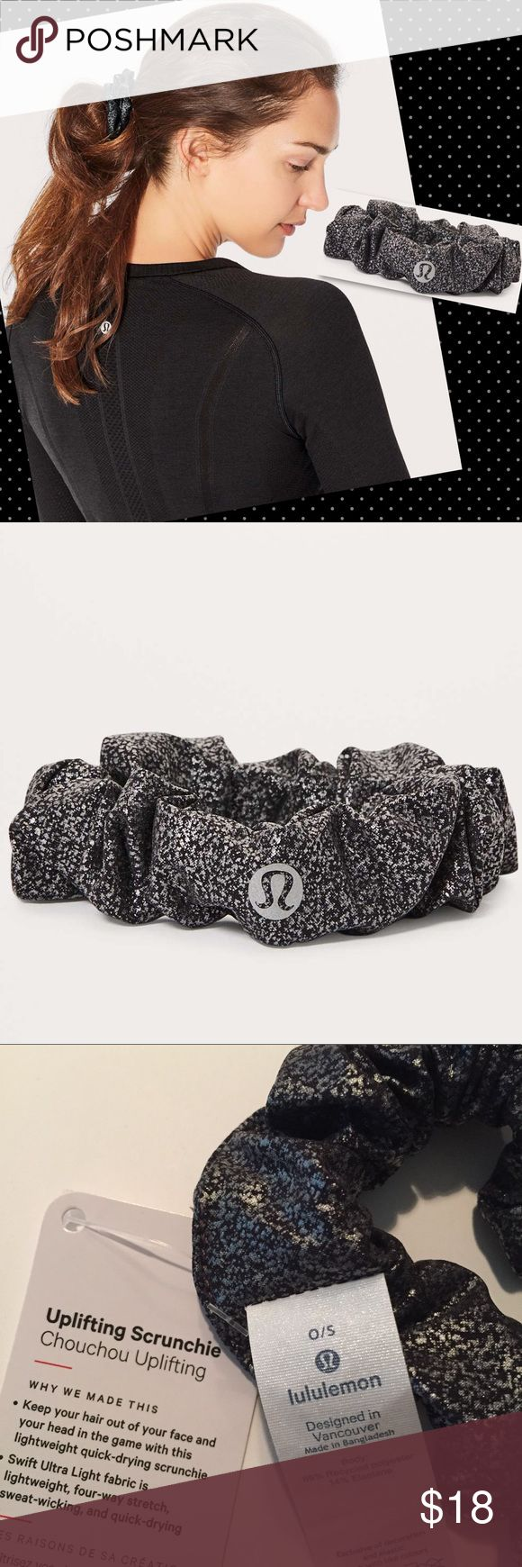 NWT Lululemon Uplifting Scrunchie luminosity foil NWT Uplifting Scrunchie in Luminosity Foil Print Black Silver. NWT with tags attached. Color & Print: silver black reflective dotted speckled print with texture.  Keep your hair out of your face and your head in the game with this lightweight, quick-drying scrunchie.   4-way stretch Swift Ultra Light fabric is an airy, lightweight fabric woven to wick sweat and provide airflow.   Designed for: To + from. lululemon athletica Accessories Hair…
