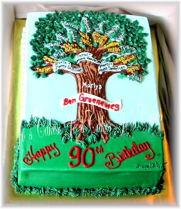 90th Family Tree Birthday Cake - Branches are used to connect the children to…