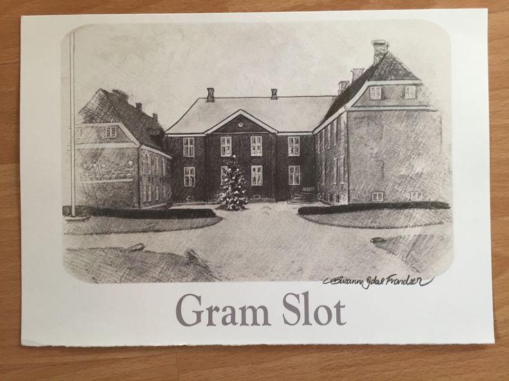 Gram Slot tegnet med blyant på papir
