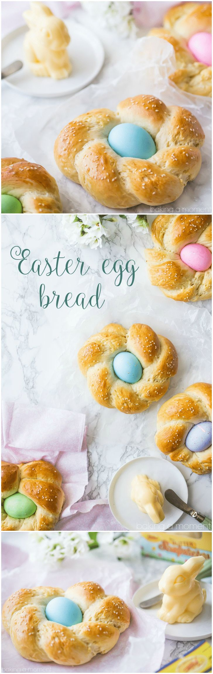 Easter Egg Bread: such a lovely way to celebrate Spring!  This bread is buttery, eggy, and a little sweet, with a hint of vanilla and orange blossom and the prettiest Easter egg nestled inside!  food bread easter via @bakingamoment