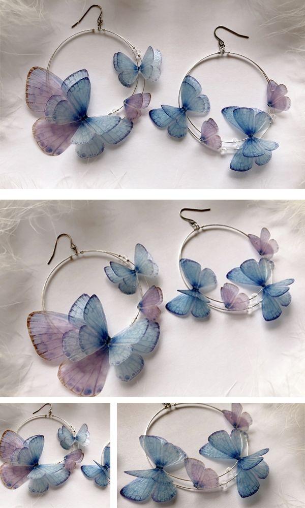 Dreamy Hoops Earrings Butterflies from Gracia Set for Boho Chic Look on Party Butterfly Earrings Hoop Earrings of Silk Butterfly wings