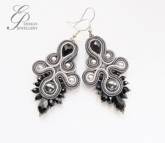 Grey soutache earrings Soutache jewelry Christmas gift on Etsy, ₱1,826.48