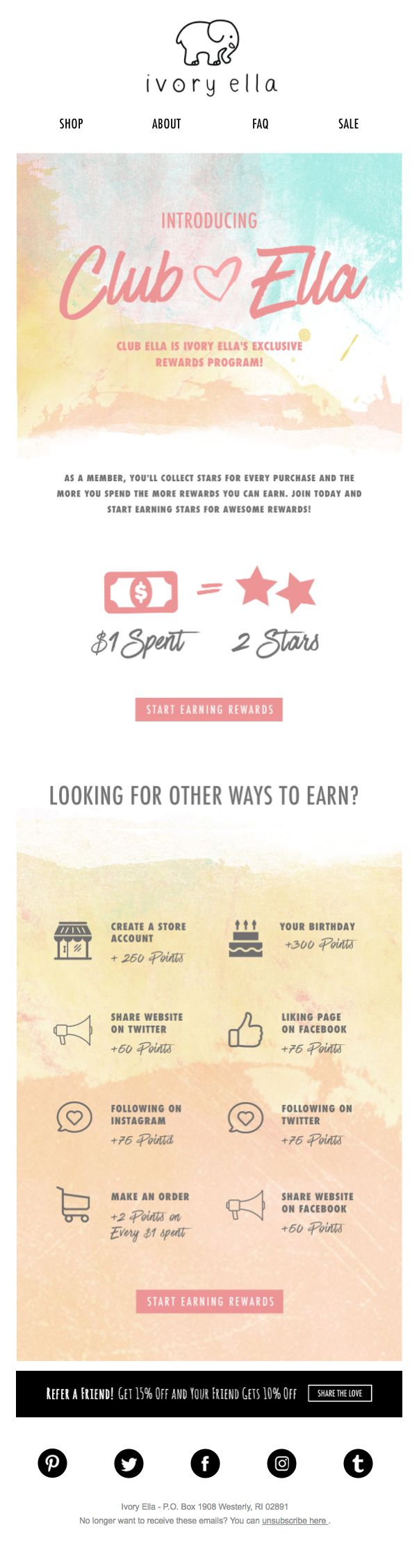Ivory Ella lets customers know about their loyalty program with this beautiful newsletter.