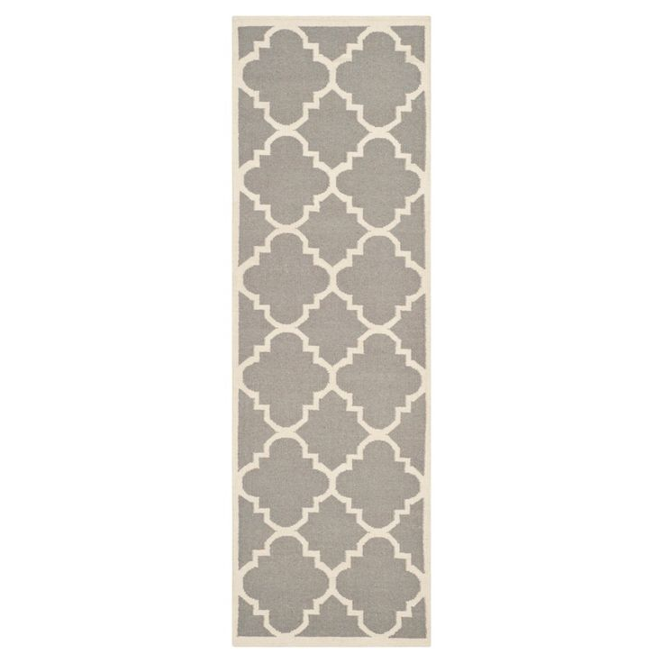 Mazagan Dhurry Rug - Gray/Ivory - (2'6x12') - Safavieh