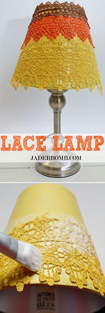 Fácil pantalla de lámpara con encaje en varios tonos o monocromático