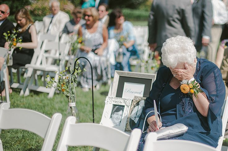 "The Memory Chair - ""The bride at this wedding left a chair next to her grandmother that was reserved for the bride's grandfather and uncle who had passed away. The reserved seat was a surprise."""