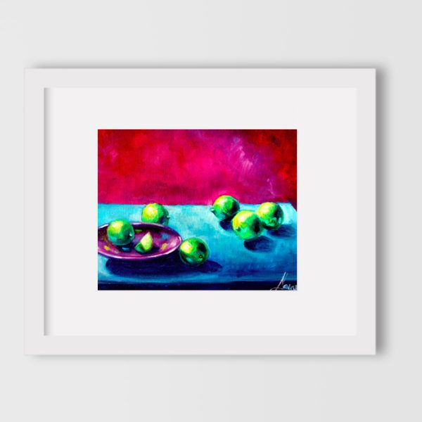 "Kitchen art ""Still life with limes"" by Lena Navarro"