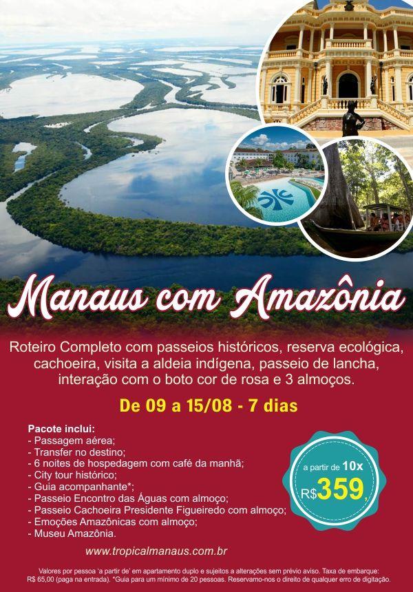Manaus com Amazônia  Roteiro completo com passeios históricos, reserva ecológica, cachoeira, visita a aldeia indígena, passeio de lancha, interação com boto cor de rosa e três almoços.  Consulte mais informações: lalasponchiado.home@clubeturismo.com.br  #AmoViajar #CurtaoBrasil #AproveiteSuasFerias #OndeEuQueriaEstarAgora #QueDestinoeEsse #VenhaConhecer