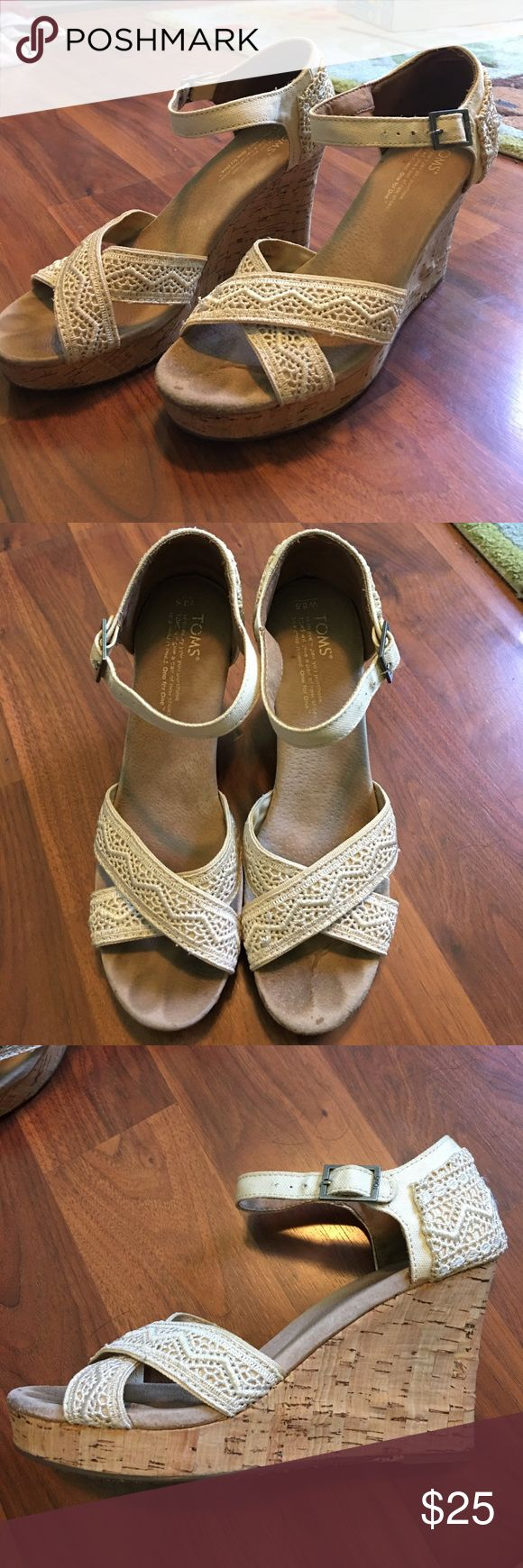 Toms Crochet Wedges Toms crochet wedges in good used condition. Reposhing because they do not fit sadly ☹️. Cream colored. Some wear on the toes, not noticeable when wearing them. Toms Shoes Wedges