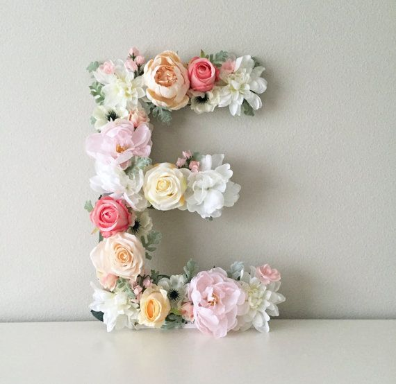 Floral Letter, Floral Initial, Nursery Letter, Flower Letter, Nursery Wall Art, Baby Gift, Shabby Chic, Boho Chic Nursery Decor, Nursery Art  – Ideas de fiesta
