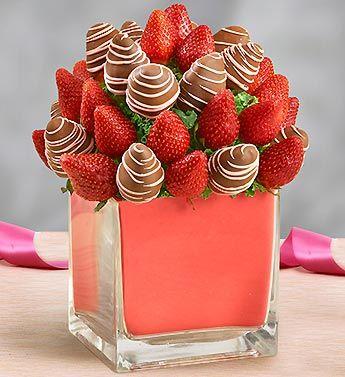 One Romantic Evening Fruit Arrangement #strawberries #chocolate #yummy #gift