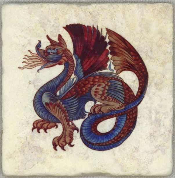 """Morris & Co. Persian Dragon tile by William de Morgan on Botticino marble. One of a set of 13 different tiles, 6"""" square (15.4 cm). Both Morris and de Morgan had a strong interest in Persian tiles, and in mythology and medieval arts. Dragons appear in the Peacock and Dragon wallpaper, and in Morris & Co. tiles under the direction of William de Morgan"""