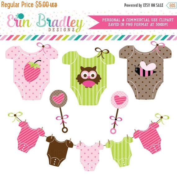 70% OFF SALE Baby Girl Tees Clipart Clip Art by ErinBradleyDesigns