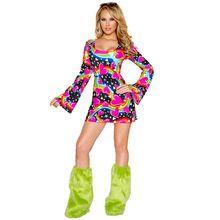 60 s 70 s Hippie Feliz Cosplay Fancy Dress Mulheres Discoteca Partido Do Traje do Dia Das Bruxas(China (Mainland))