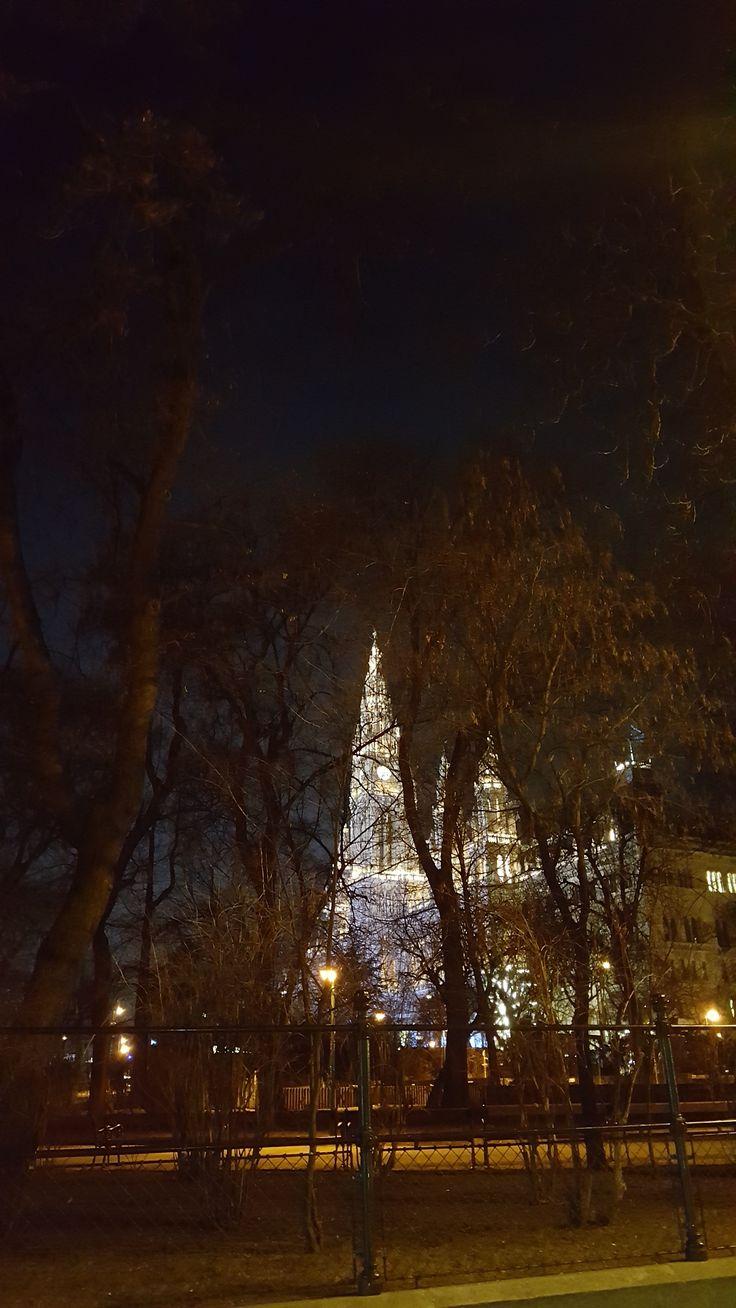 Rathaus Wien, Österreich, beleuchtet nachts. Romantischer Spaziergang am Ring in der Hauptstadt.