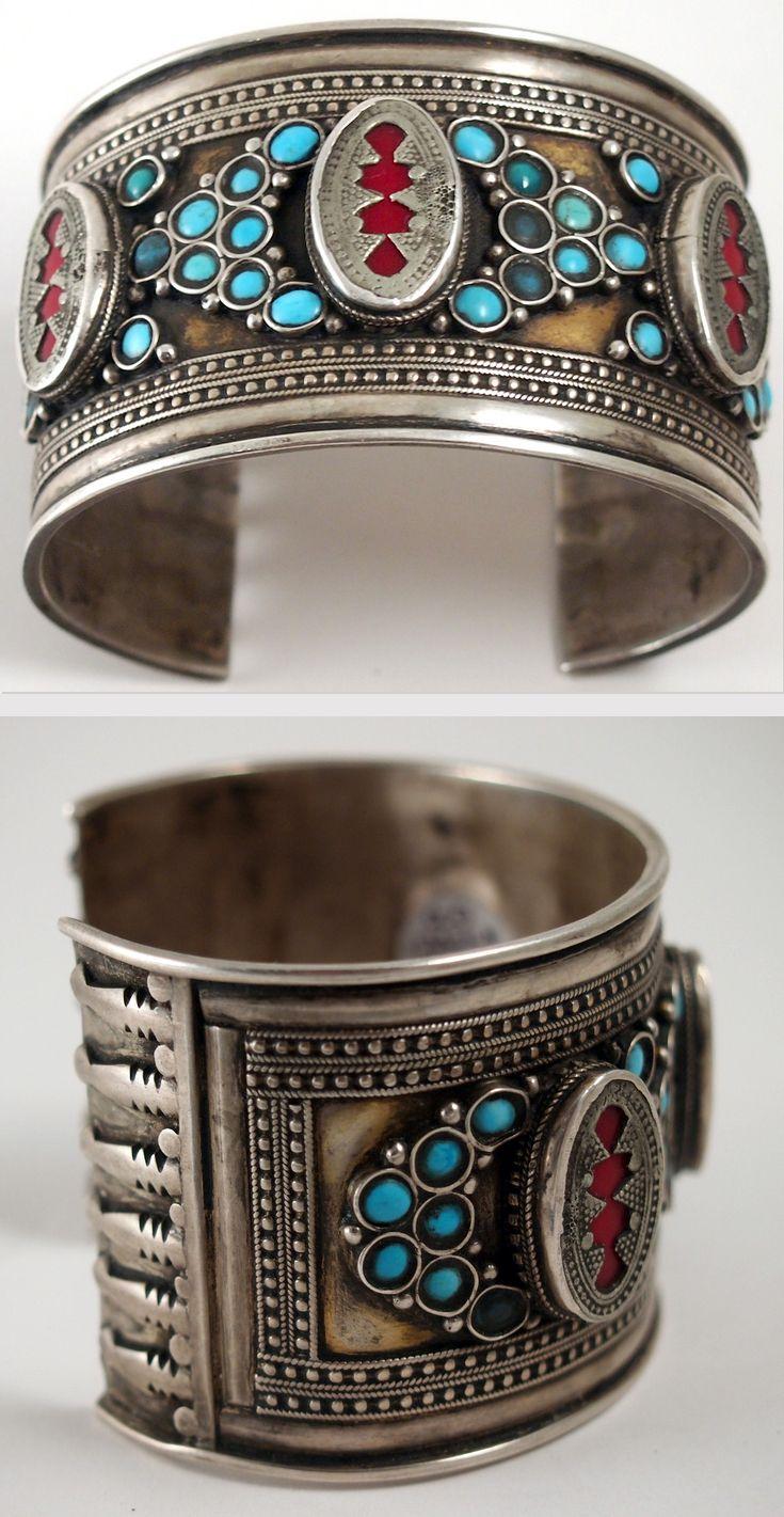 Uzbekistan | Old silver, silver-gilt, turquoise and glass bracelet | Ann Porteus ~ Sidewalk Tribal Gallery