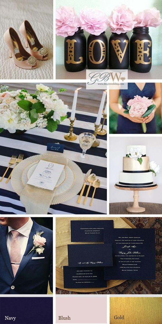 linda combinação de cores: azul escuro, rosa claro e dourado (navy, blush, gold)