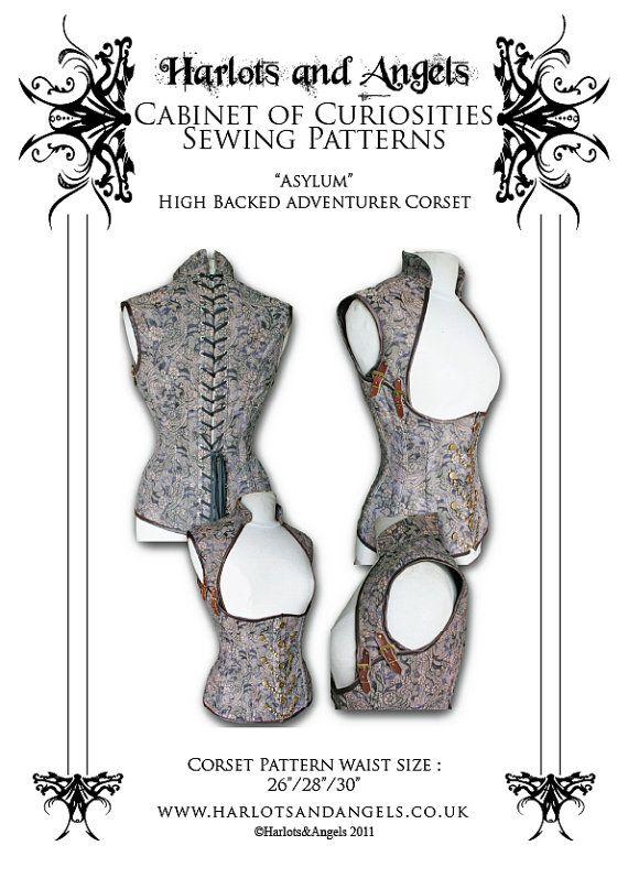 "Steampunk ""Asylum"" Corset Sewing Pattern High Back Medium (HBCM) $19.50"