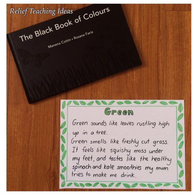 The Black Book of Colours - the most unique picture book I've come across! Told through the perspective of a blind person, each colour is described using the senses. Have students write senses poetry after reading the book.