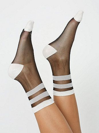 Our sheer sock hits above the ankle and features fun, simple patterns. Cotton toe, heel and welt.