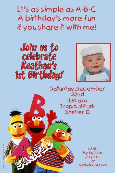 Sesame Street Birthday Invitations ABC   Get these invitations RIGHT NOW. Design yourself online, download and print IMMEDIATELY! Or choose my printing services.   No software download is required. Free to try!