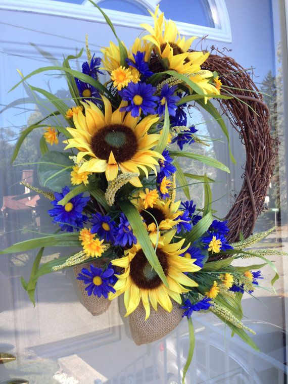 Sunflower Door Wreath, French Country Floral Wreath, Grapevine Summer Decoration, Blue Yellow Flowers, Bridal Shower Hanging Arrangment My most
