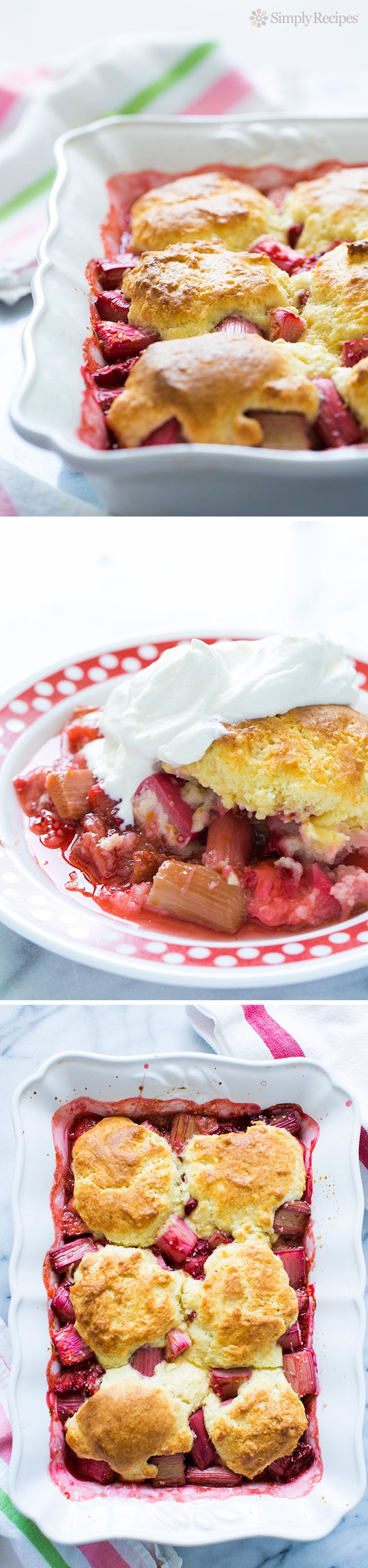 Easy-to-make strawberry rhubarb cobbler! Perfect for #FourthOfJuly  Strawberries, rhubarb, sugar, orange peel baked with a biscuit-like cobbler crust topping.  Serve with whipped cream. ~ SimplyRecipes.com
