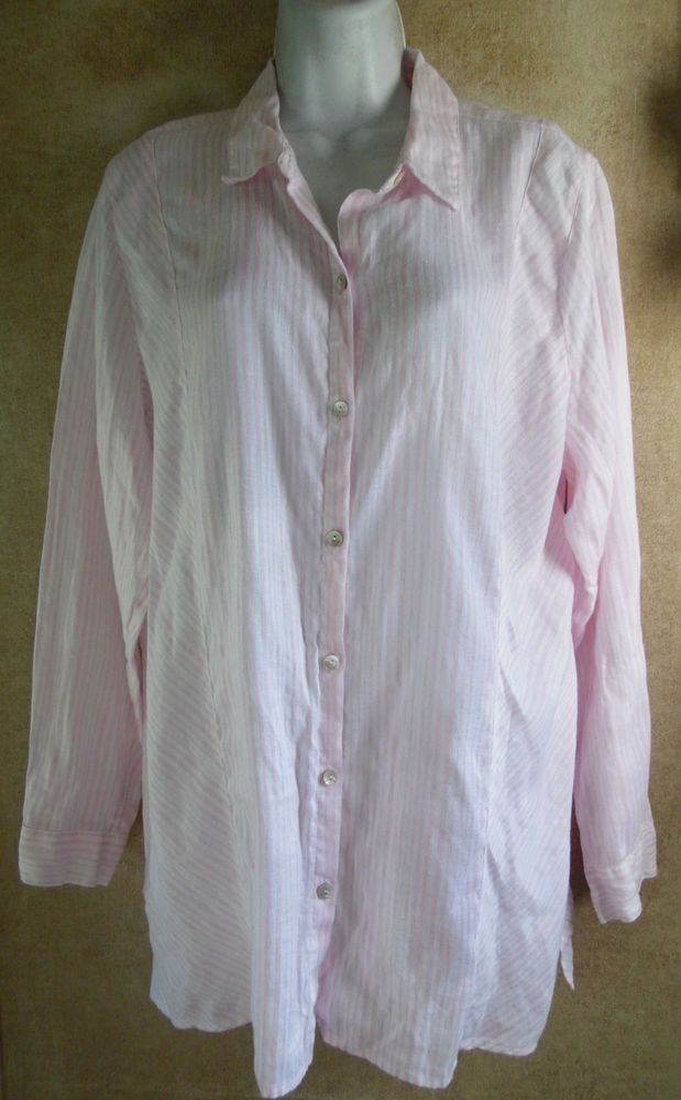 c0887d920 Lovely Pink/White J. Jill Love Linen Long Sleeve Tunic - Large #fashion