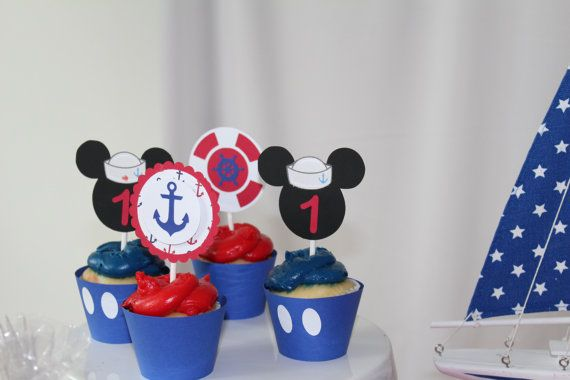 Nautical Mickey Cupcake toppers set of 12 by Yourmagicalparties