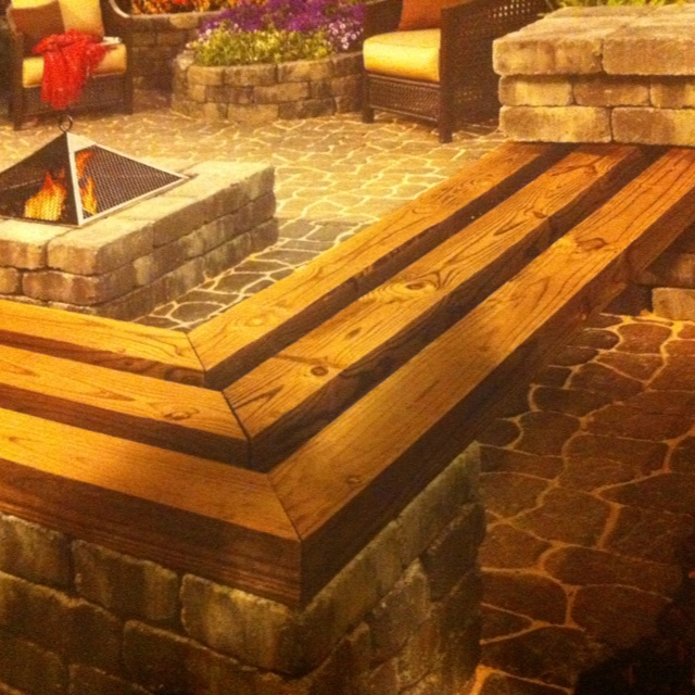 Patio Block And Timber Bench