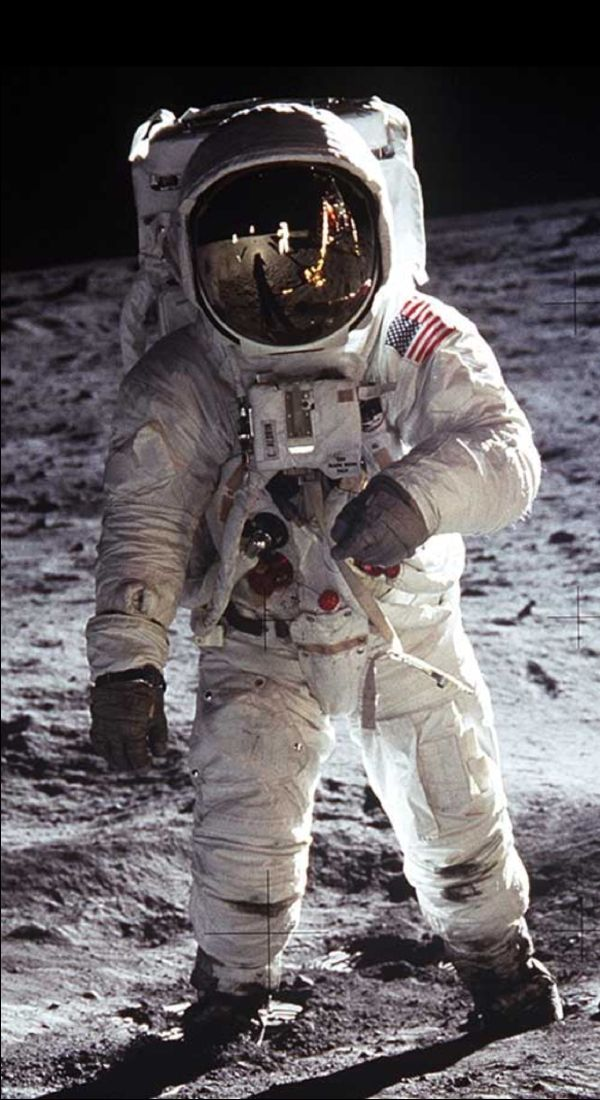 "Neil Armstrong, July 20, 1969, and hearing: ""That's one small step for man, one giant leap for mankind."""