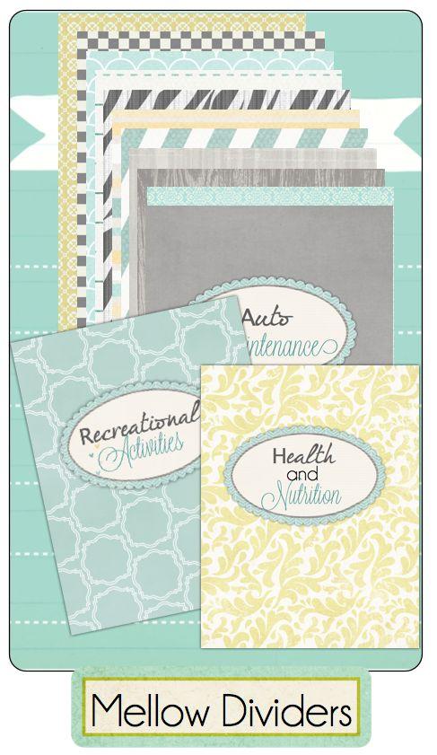 Dividers for home management binder free download for Home planning binder