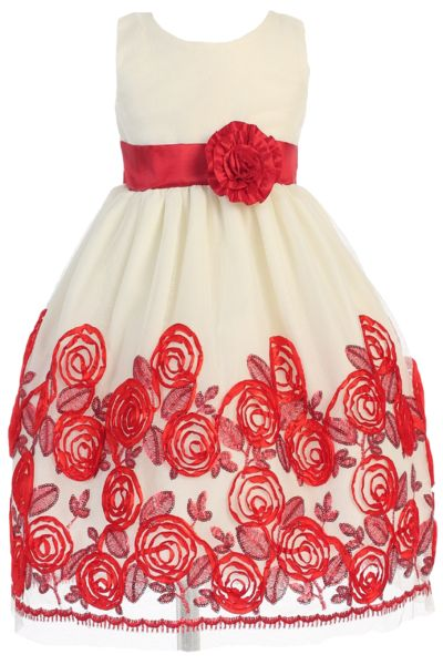 Ivory Tulle & Red Floral Soutache Ribbon Girls Holiday Dress 2T-12 (C988)
