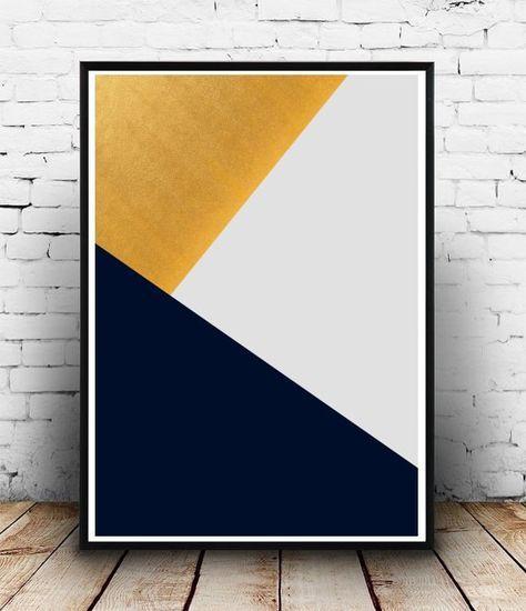 Grey Triangle Print, Geometric Art, Printable Wall Art, Triangles Print…