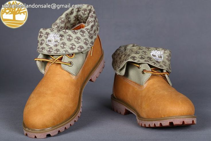 Custom Timberland Roll Top Wheat-Grey Prints Earthkeepers Basic Men Boots $90.99