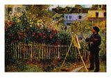 Claude Monet - Monet Painting In His Garden In Argenteuil Lepicí obraz na stěnu