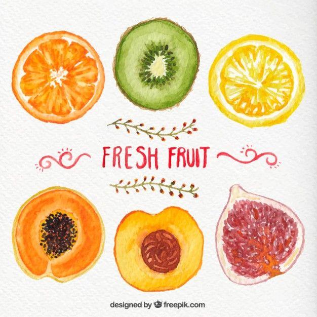 Pintados à mão frutas frescas Vetor grátis
