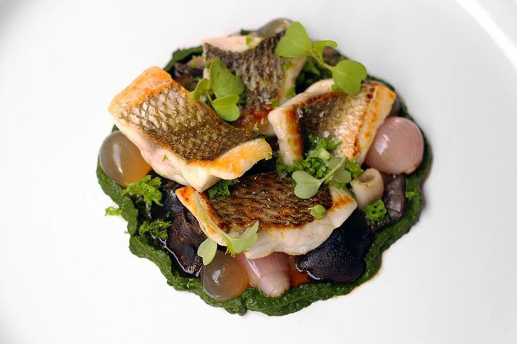 Pan fried black bream with pickled shallots, freshly picked grey ghost & slippery jack mushrooms, fish sauce @ Raconteur