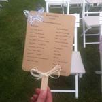 Abanico Handmade con el guión de la ceremonia de la boda de M&D