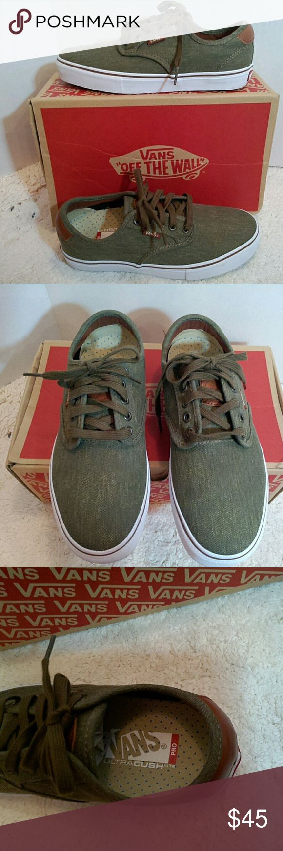 Vans Chima Ferguson Pro skateboard shoes olive green twill; Chima Ferguson Pro skateboard shoes; the skateboard shoe has more support than regular Vans; comes with extra shoe laces in a tan color; very slight scuffs from trying on in the house but never worn outside; excellent condition; mens size 7; womens size 8.5-9 ; new in box    (box) Vans Shoes Athletic Shoes