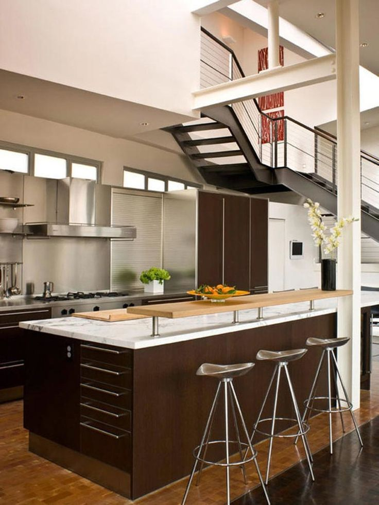 Nice Looking Brown Kitchen Design Ideas 2014 : Stunning White And Brown Kitchen  Design With White Marble Brown Large Kitchen Island And Mode.