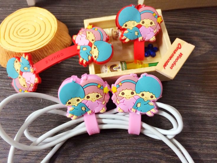 Kawaii Gemini Cable Winder Clip Headphone Winder Silicone Cable Cord Wrap Cable Wire Organizer Earphone Cord Holder For Mp3 Mp4