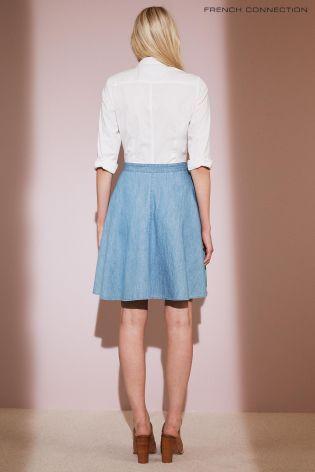 Biało-niebieska sukienka koszulowa French Connection