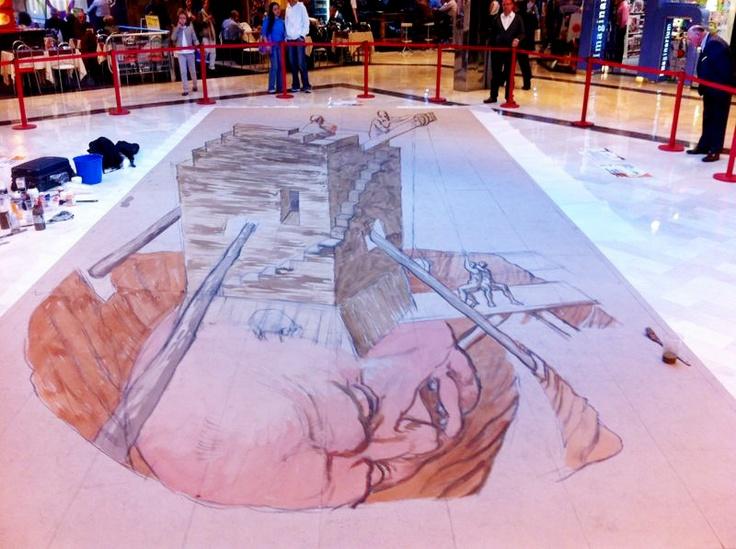 EL MITO DE LA TORRE DE HÉRCULES. Proceso de pintura EDUARDO RELERO en el Centro Comercial 4 Caminos de Coruña. Abierto al público hasta mediados de noviembre.