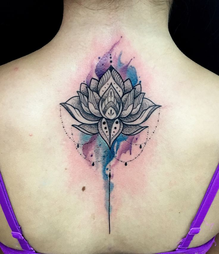 Lotus flower tattoo watercolor  By Juan david Castro R