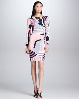 Body con print Emilio Pucci Long-Sleeve Side-Ruched Print Dress, Pink/Black/Ivory
